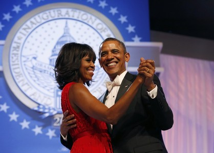 U.S. President Barack Obama and first lady Michelle Obama dance at the Inaugural Ball in Washington